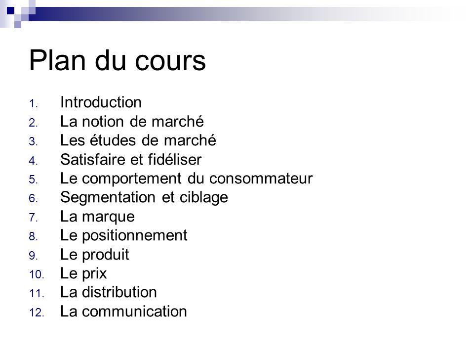 Plan du cours 1. Introduction 2. La notion de marché 3. Les études de marché 4. Satisfaire et fidéliser 5. Le comportement du consommateur 6. Segmenta