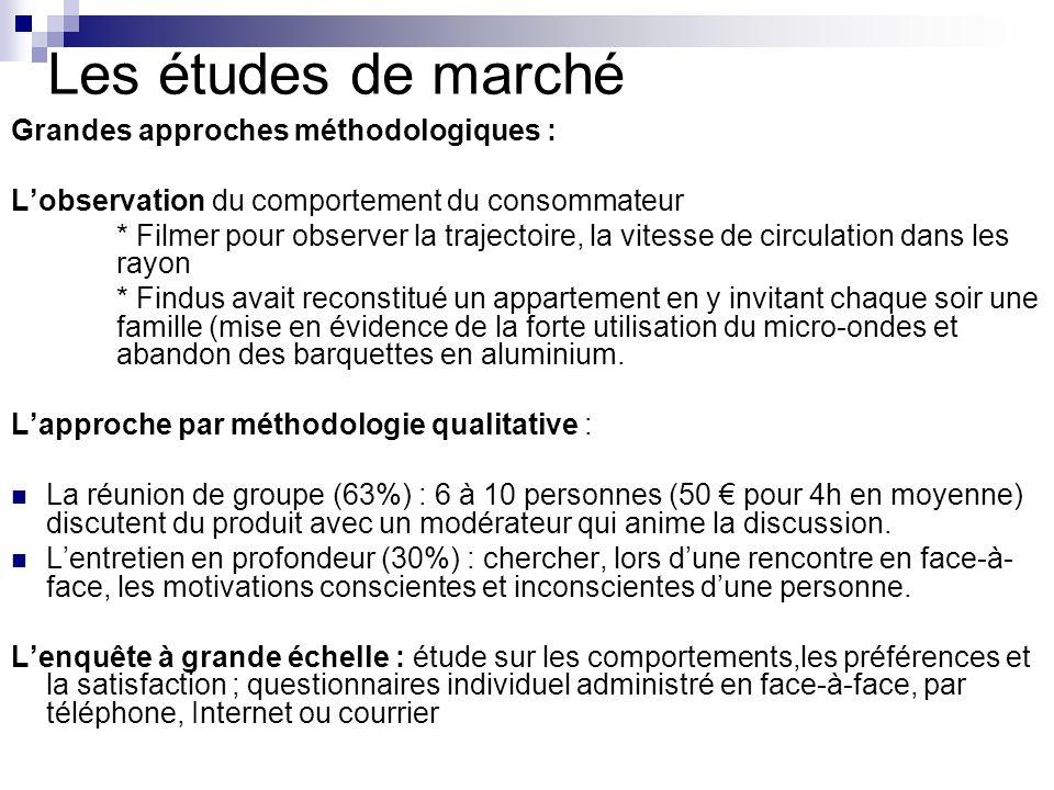 Les études de marché Grandes approches méthodologiques : Lobservation du comportement du consommateur * Filmer pour observer la trajectoire, la vitess
