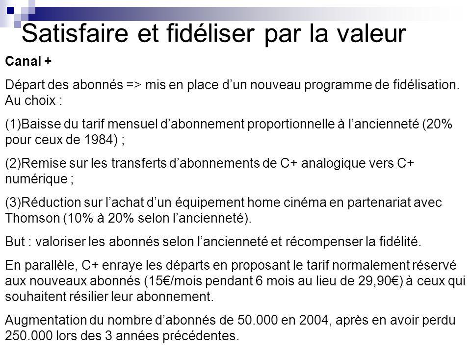 Satisfaire et fidéliser par la valeur Canal + Départ des abonnés => mis en place dun nouveau programme de fidélisation. Au choix : (1)Baisse du tarif