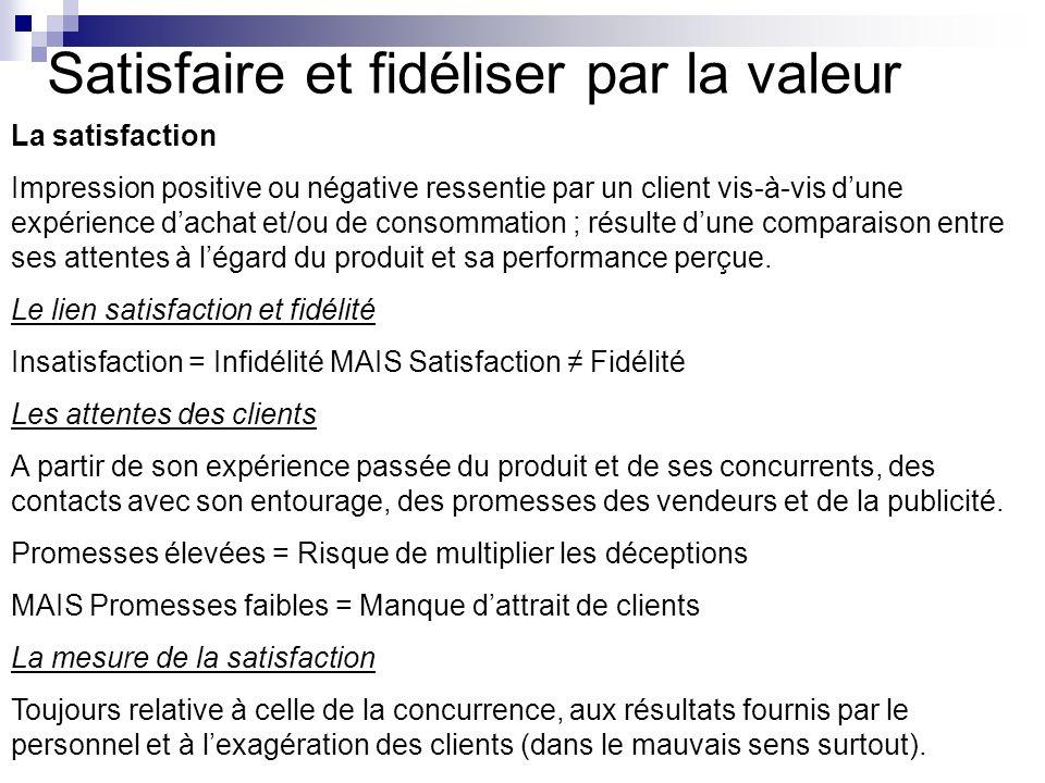 Satisfaire et fidéliser par la valeur La satisfaction Impression positive ou négative ressentie par un client vis-à-vis dune expérience dachat et/ou d