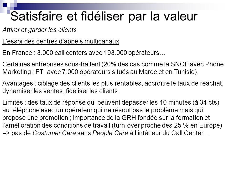 Satisfaire et fidéliser par la valeur Attirer et garder les clients Lessor des centres dappels multicanaux En France : 3.000 call centers avec 193.000