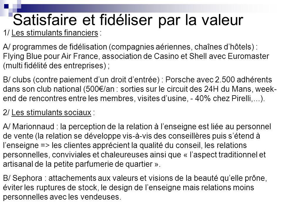 Satisfaire et fidéliser par la valeur 1/ Les stimulants financiers : A/ programmes de fidélisation (compagnies aériennes, chaînes dhôtels) : Flying Bl