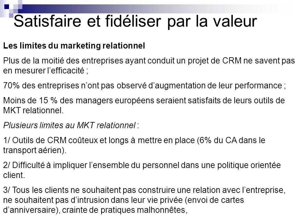Satisfaire et fidéliser par la valeur Les limites du marketing relationnel Plus de la moitié des entreprises ayant conduit un projet de CRM ne savent