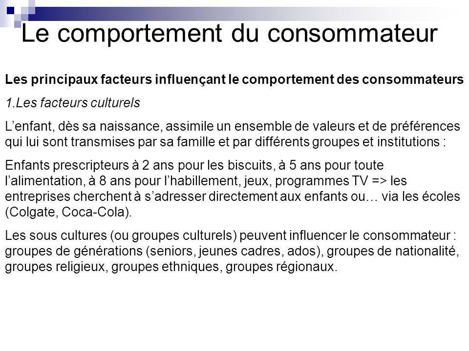 Le comportement du consommateur Les principaux facteurs influençant le comportement des consommateurs 1.Les facteurs culturels Lenfant, dès sa naissan