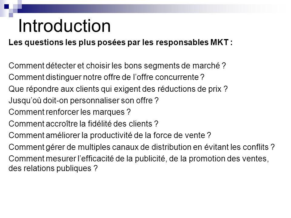 Introduction Les questions les plus posées par les responsables MKT : Comment détecter et choisir les bons segments de marché ? Comment distinguer not