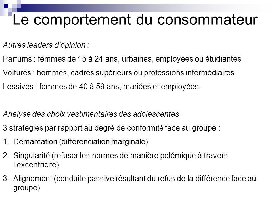 Le comportement du consommateur Autres leaders dopinion : Parfums : femmes de 15 à 24 ans, urbaines, employées ou étudiantes Voitures : hommes, cadres