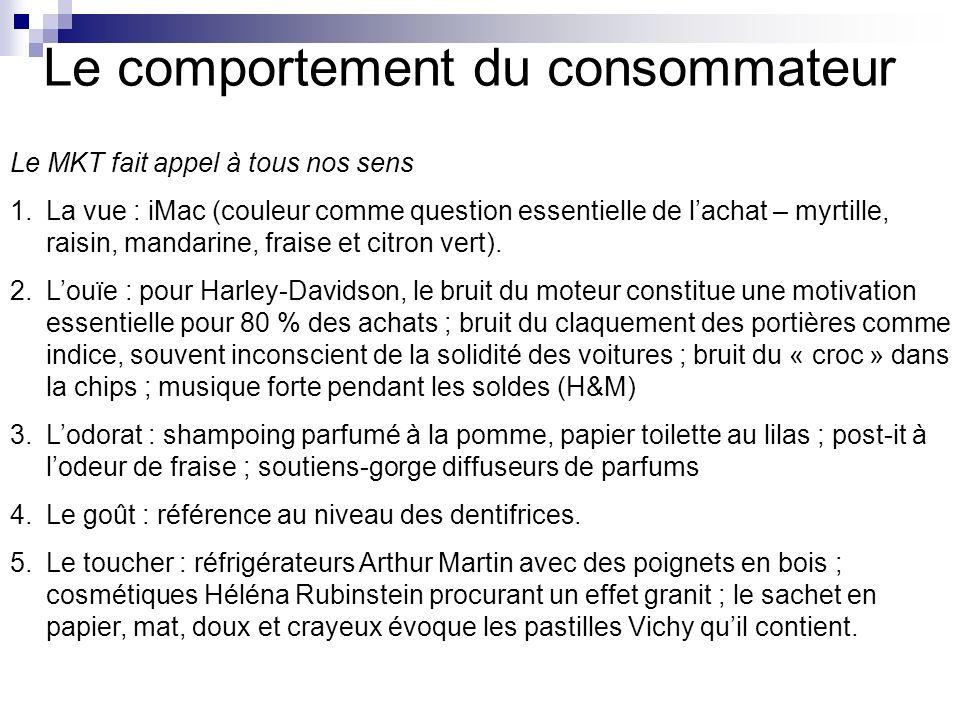 Le comportement du consommateur Le MKT fait appel à tous nos sens 1.La vue : iMac (couleur comme question essentielle de lachat – myrtille, raisin, ma