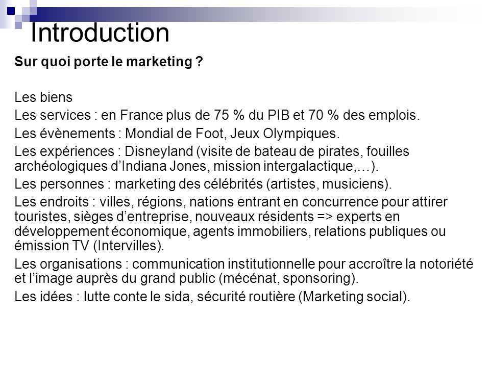 Introduction Sur quoi porte le marketing ? Les biens Les services : en France plus de 75 % du PIB et 70 % des emplois. Les évènements : Mondial de Foo