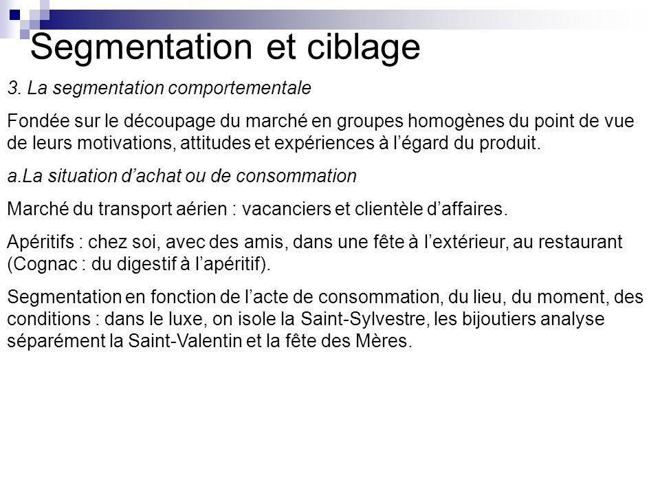 Segmentation et ciblage 3. La segmentation comportementale Fondée sur le découpage du marché en groupes homogènes du point de vue de leurs motivations