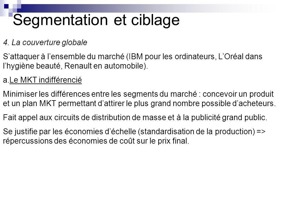 Segmentation et ciblage 4. La couverture globale Sattaquer à lensemble du marché (IBM pour les ordinateurs, LOréal dans lhygiène beauté, Renault en au