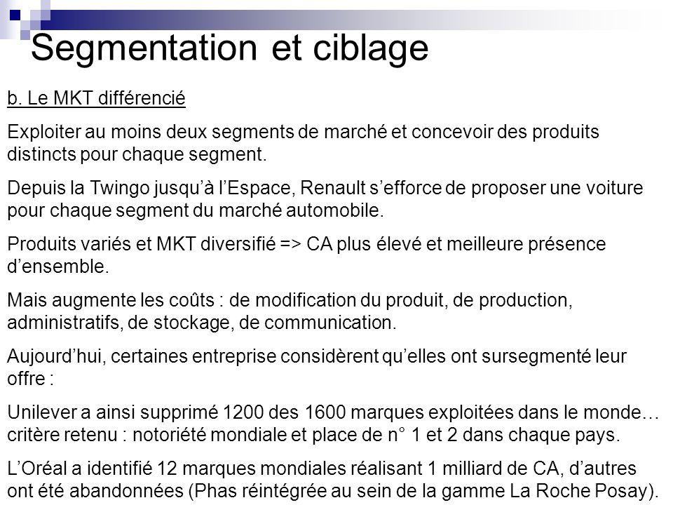 Segmentation et ciblage b. Le MKT différencié Exploiter au moins deux segments de marché et concevoir des produits distincts pour chaque segment. Depu