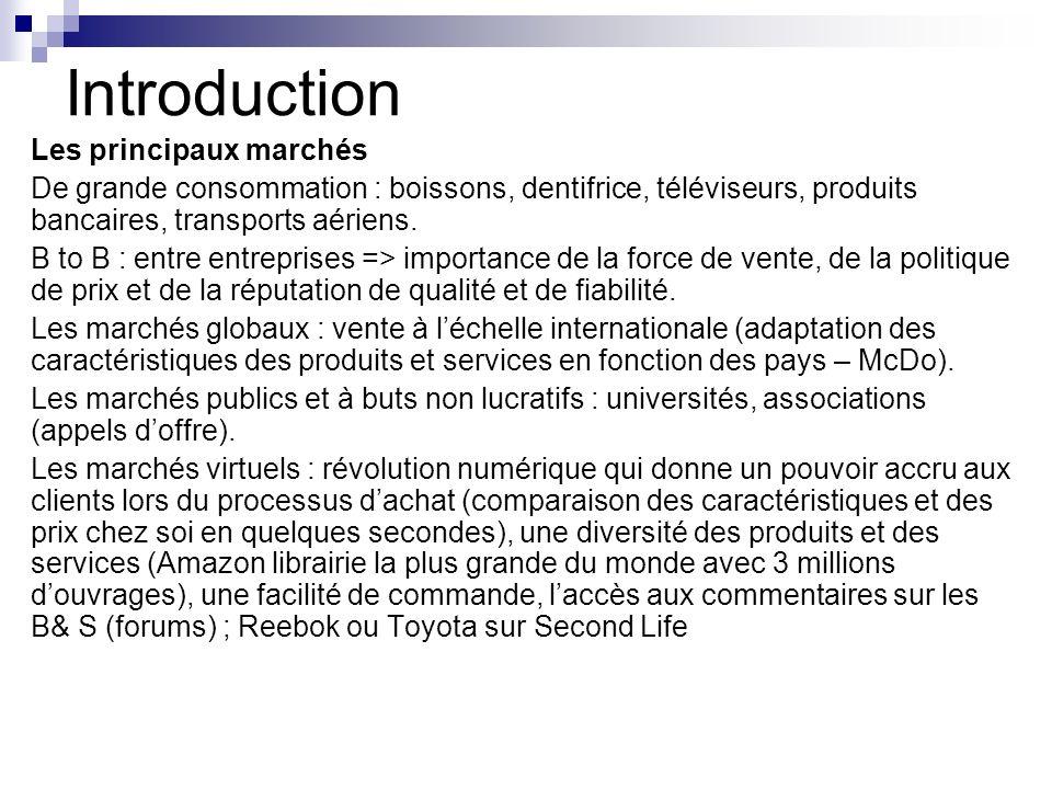Introduction Les principaux marchés De grande consommation : boissons, dentifrice, téléviseurs, produits bancaires, transports aériens. B to B : entre