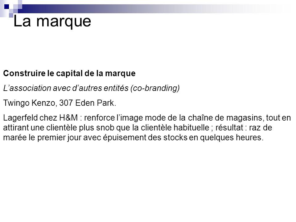 La marque Construire le capital de la marque Lassociation avec dautres entités (co-branding) Twingo Kenzo, 307 Eden Park. Lagerfeld chez H&M : renforc