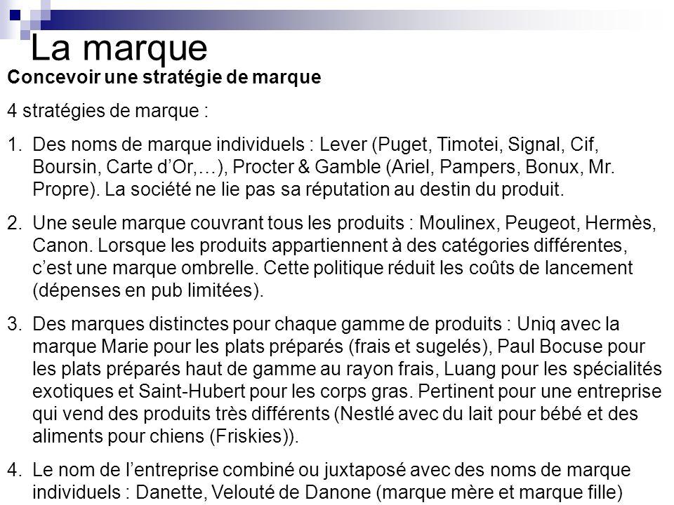 La marque Concevoir une stratégie de marque 4 stratégies de marque : 1.Des noms de marque individuels : Lever (Puget, Timotei, Signal, Cif, Boursin, C
