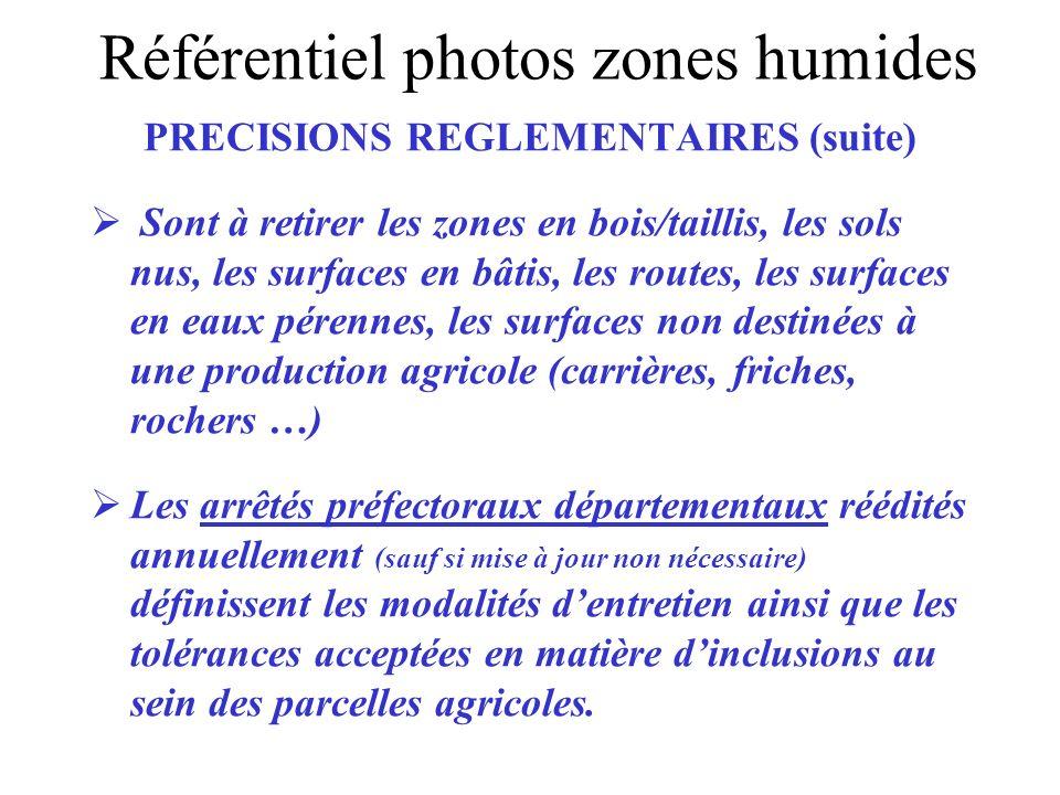 PRECISIONS REGLEMENTAIRES (suite) Sont à retirer les zones en bois/taillis, les sols nus, les surfaces en bâtis, les routes, les surfaces en eaux pére