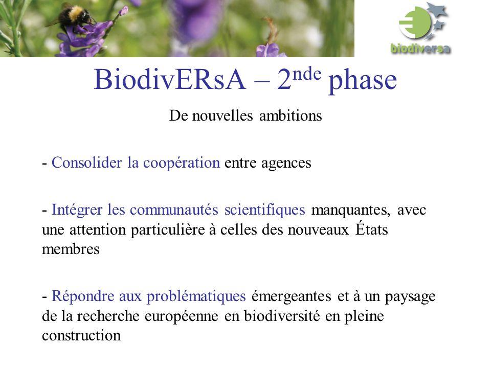 BiodivERsA – 2 nde phase De nouvelles ambitions - Consolider la coopération entre agences - Intégrer les communautés scientifiques manquantes, avec une attention particulière à celles des nouveaux États membres - Répondre aux problématiques émergeantes et à un paysage de la recherche européenne en biodiversité en pleine construction