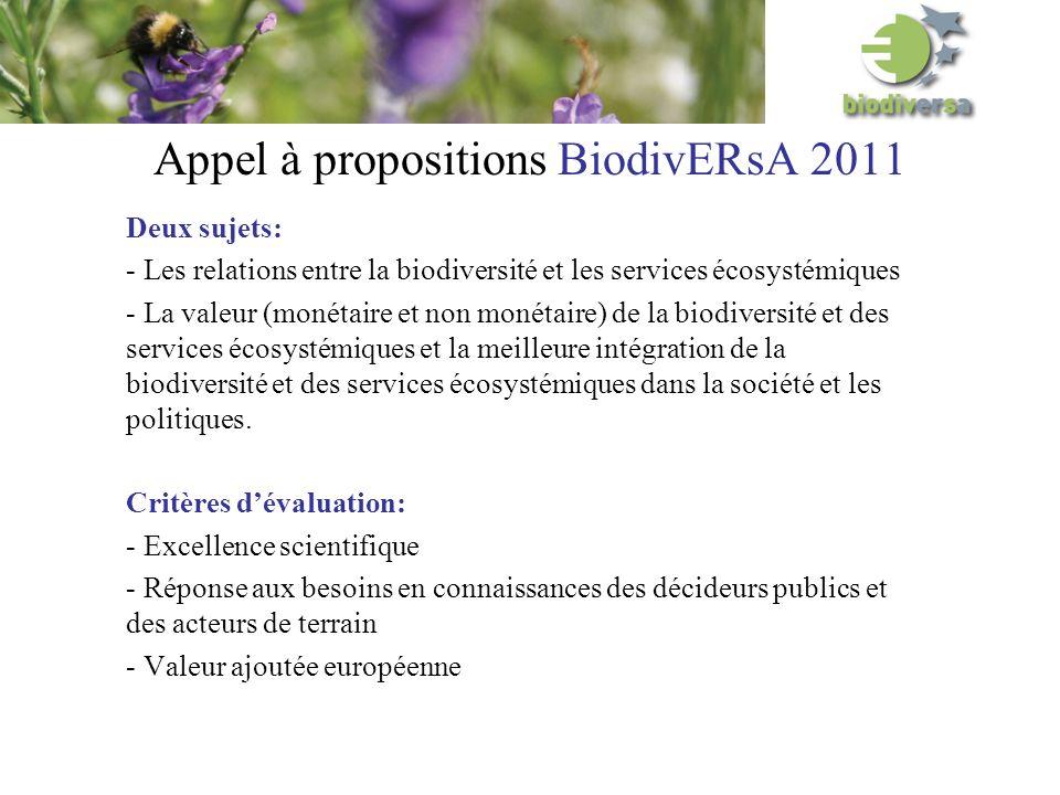 Appel à propositions BiodivERsA 2011 Deux sujets: - Les relations entre la biodiversité et les services écosystémiques - La valeur (monétaire et non monétaire) de la biodiversité et des services écosystémiques et la meilleure intégration de la biodiversité et des services écosystémiques dans la société et les politiques.