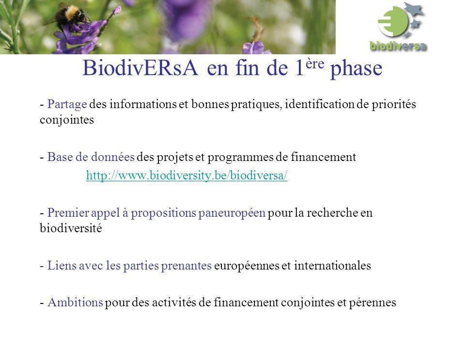 BiodivERsA en fin de 1 ère phase - Partage des informations et bonnes pratiques, identification de priorités conjointes - Base de données des projets et programmes de financement http://www.biodiversity.be/biodiversa/ - Premier appel à propositions paneuropéen pour la recherche en biodiversité - Liens avec les parties prenantes européennes et internationales - Ambitions pour des activités de financement conjointes et pérennes