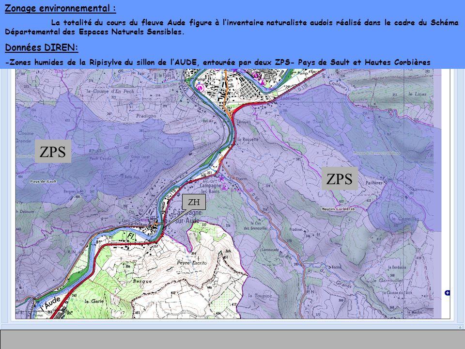 Zonage environnemental : La totalité du cours du fleuve Aude figure à linventaire naturaliste audois réalisé dans le cadre du Schéma Départemental des