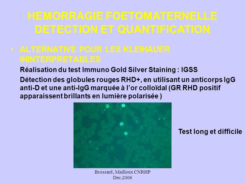 Brossard, Mailloux CNRHP Dec.2006 ALTERNATIVE POUR LES KLEIHAUER ININTERPRETABLES Réalisation du test Immuno Gold Silver Staining : IGSS Détection des