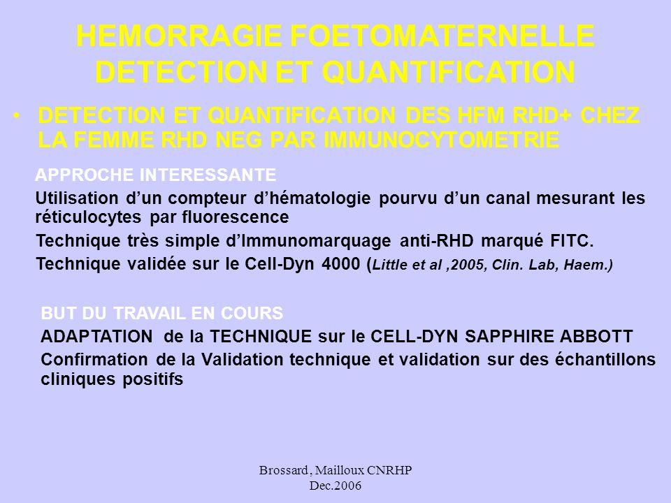 Brossard, Mailloux CNRHP Dec.2006 DETECTION ET QUANTIFICATION DES HFM RHD+ CHEZ LA FEMME RHD NEG PAR IMMUNOCYTOMETRIE HEMORRAGIE FOETOMATERNELLE DETEC