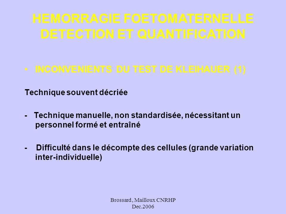Brossard, Mailloux CNRHP Dec.2006 INCONVENIENTS DU TEST DE KLEIHAUER (1) Technique souvent décriée - Technique manuelle, non standardisée, nécessitant