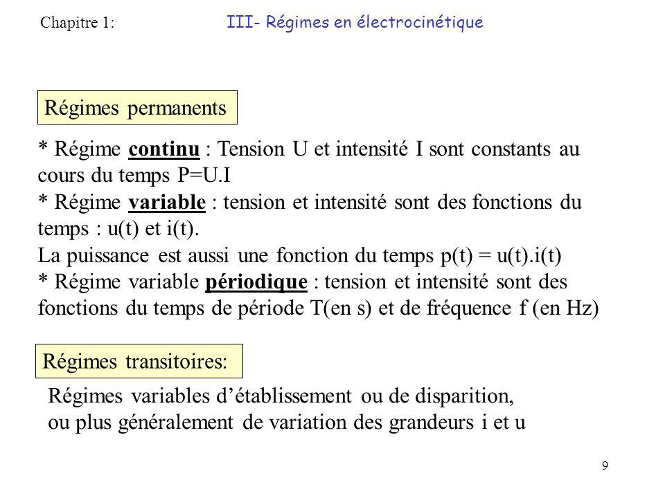 9 Régimes permanents * Régime continu : Tension U et intensité I sont constants au cours du temps P=U.I * Régime variable : tension et intensité sont des fonctions du temps : u(t) et i(t).