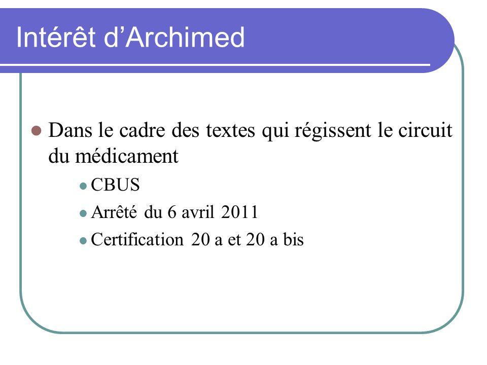 Intérêt dArchimed Dans le cadre des textes qui régissent le circuit du médicament CBUS Arrêté du 6 avril 2011 Certification 20 a et 20 a bis
