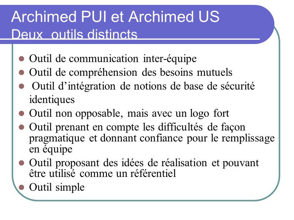 Archimed PUI et Archimed US Deux outils distincts nécessaires et attendus Outil de communication inter-équipe Outil de compréhension des besoins mutue