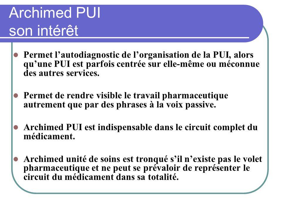 Archimed PUI son intérêt Permet lautodiagnostic de lorganisation de la PUI, alors quune PUI est parfois centrée sur elle-même ou méconnue des autres s