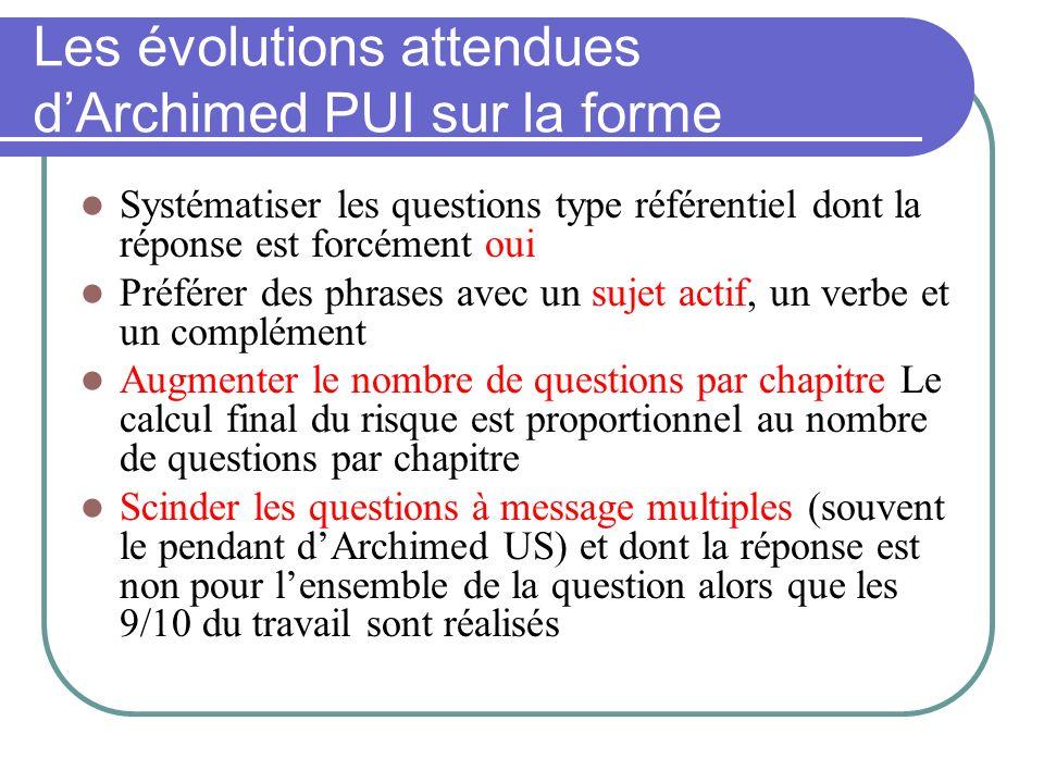 Les évolutions attendues dArchimed PUI sur la forme Systématiser les questions type référentiel dont la réponse est forcément oui Préférer des phrases