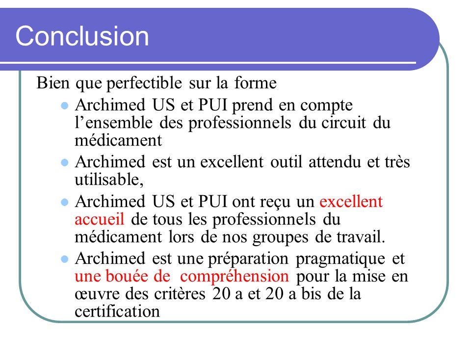 Conclusion Bien que perfectible sur la forme Archimed US et PUI prend en compte lensemble des professionnels du circuit du médicament Archimed est un