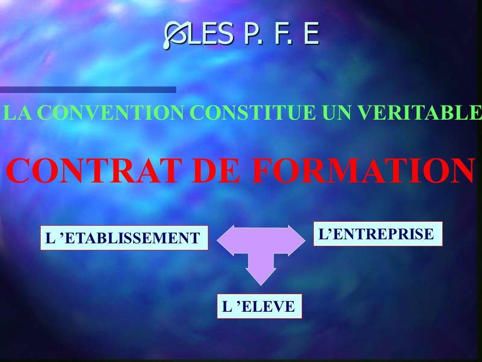 Í LES P. F. E Objectifs : *Acquérir des compétences *Faciliter le développement de qualités professionnelles LA DUREE DE LA FORMATION EN ENTREPRISE ES