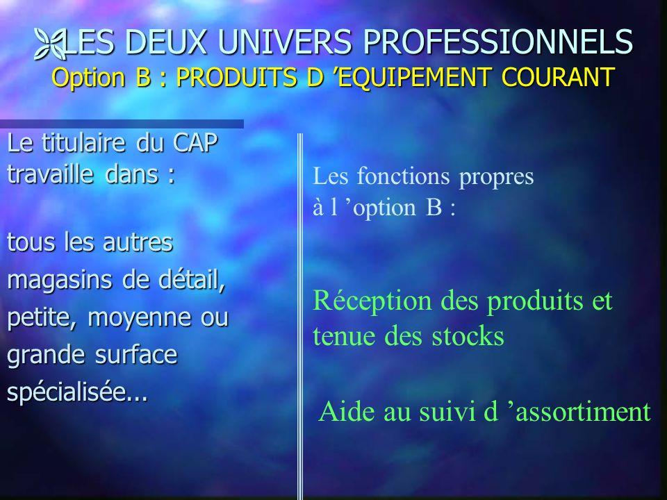 Ë LES DEUX UNIVERS PROFESSIONNELS Option A : PRODUITS ALIMENTAIRES Le titulaire du CAP travaille en boulangerie,pâtisserie,glacerie,charcuterie, comme