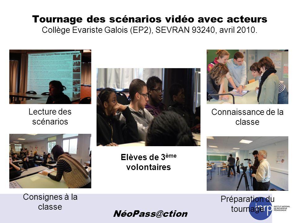 Tournage des scénarios vidéo avec acteurs Collège Evariste Galois (EP2), SEVRAN 93240, avril 2010. Lecture des scénarios Connaissance de la classe Con