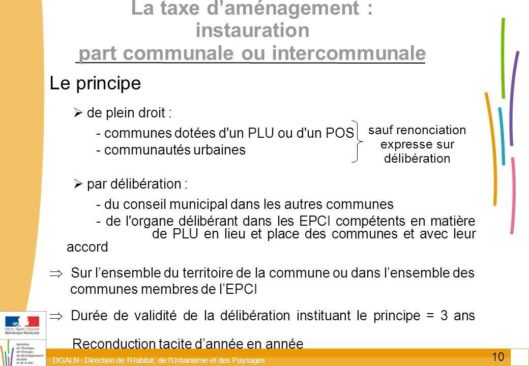 DGALN - Direction de lHabitat, de lUrbanisme et des Paysages 10 La taxe daménagement : instauration part communale ou intercommunale Le principe de pl