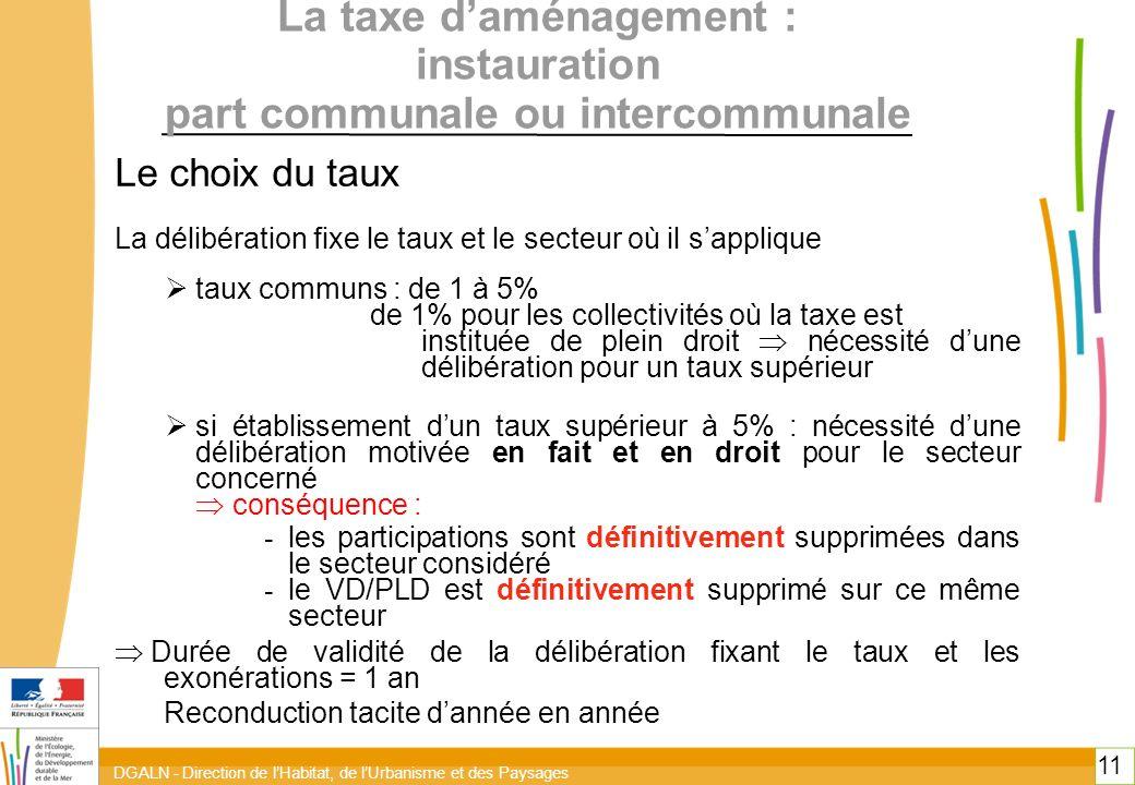 DGALN - Direction de lHabitat, de lUrbanisme et des Paysages 11 La taxe daménagement : instauration part communale ou intercommunale Le choix du taux