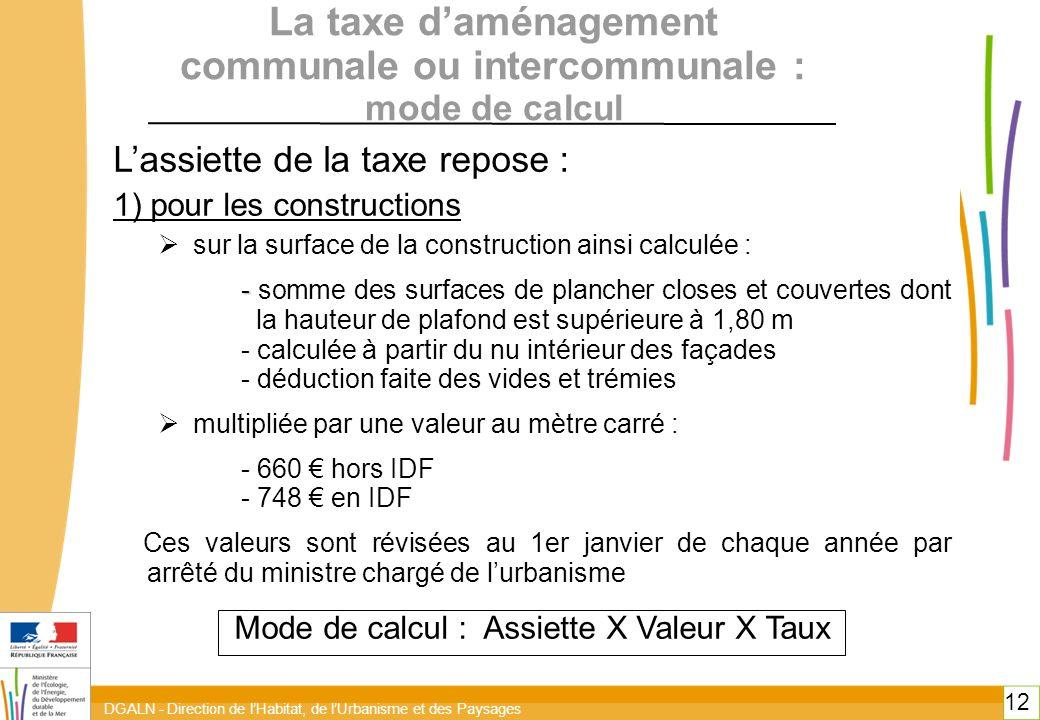 DGALN - Direction de lHabitat, de lUrbanisme et des Paysages 12 La taxe daménagement communale ou intercommunale : mode de calcul Lassiette de la taxe