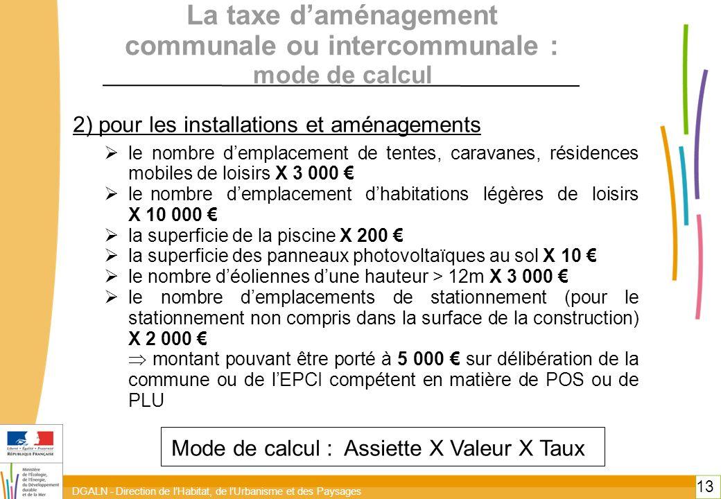 DGALN - Direction de lHabitat, de lUrbanisme et des Paysages 13 La taxe daménagement communale ou intercommunale : mode de calcul 2) pour les installa