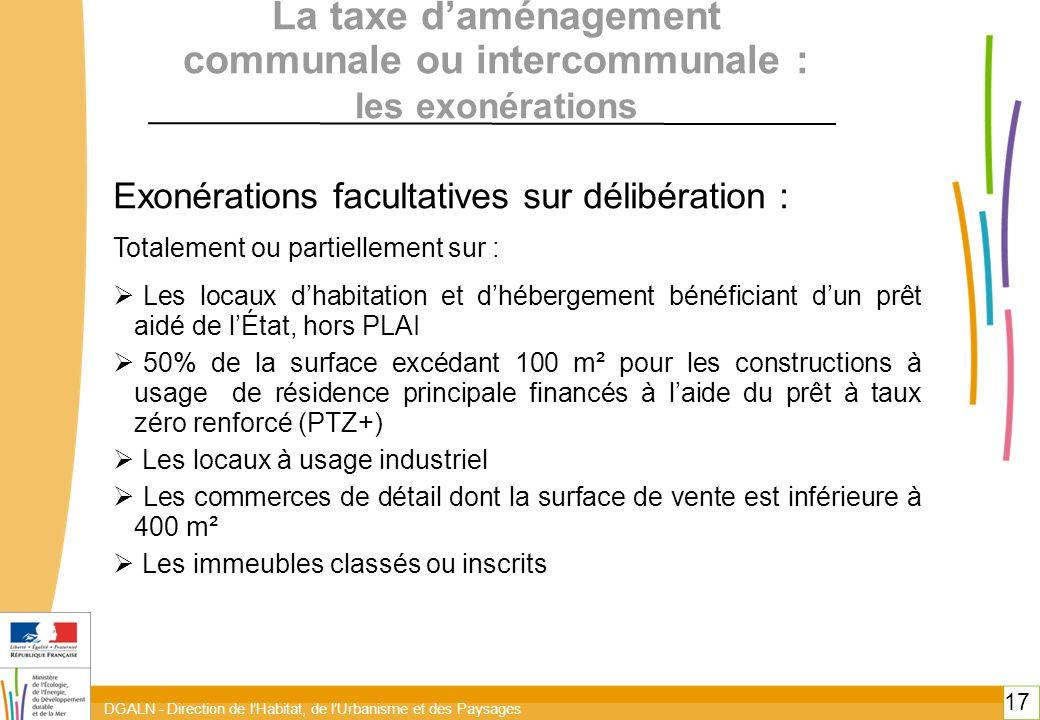 DGALN - Direction de lHabitat, de lUrbanisme et des Paysages 17 La taxe daménagement communale ou intercommunale : les exonérations Exonérations facul