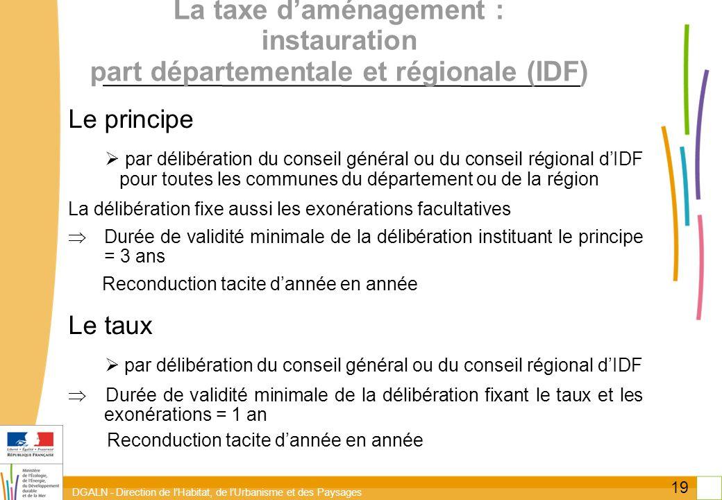 DGALN - Direction de lHabitat, de lUrbanisme et des Paysages 19 La taxe daménagement : instauration part départementale et régionale (IDF) Le principe