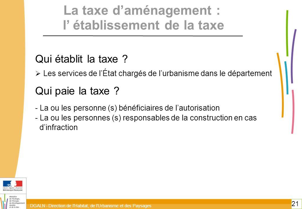 DGALN - Direction de lHabitat, de lUrbanisme et des Paysages 21 Qui établit la taxe ? Les services de lÉtat chargés de lurbanisme dans le département