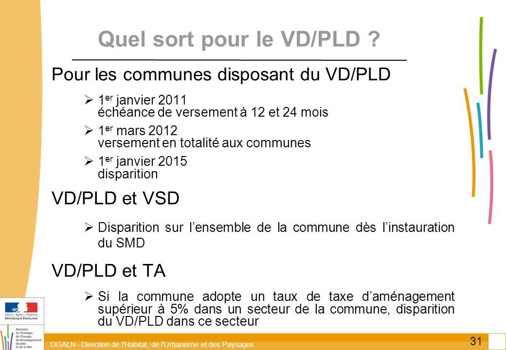 DGALN - Direction de lHabitat, de lUrbanisme et des Paysages 31 Quel sort pour le VD/PLD ? Pour les communes disposant du VD/PLD 1 er janvier 2011 éch