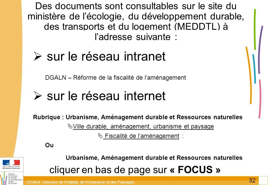DGALN - Direction de lHabitat, de lUrbanisme et des Paysages 32 Des documents sont consultables sur le site du ministère de lécologie, du développemen