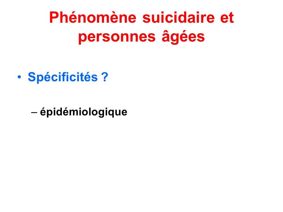 Phénomène suicidaire et personnes âgées Spécificités ? –épidémiologique