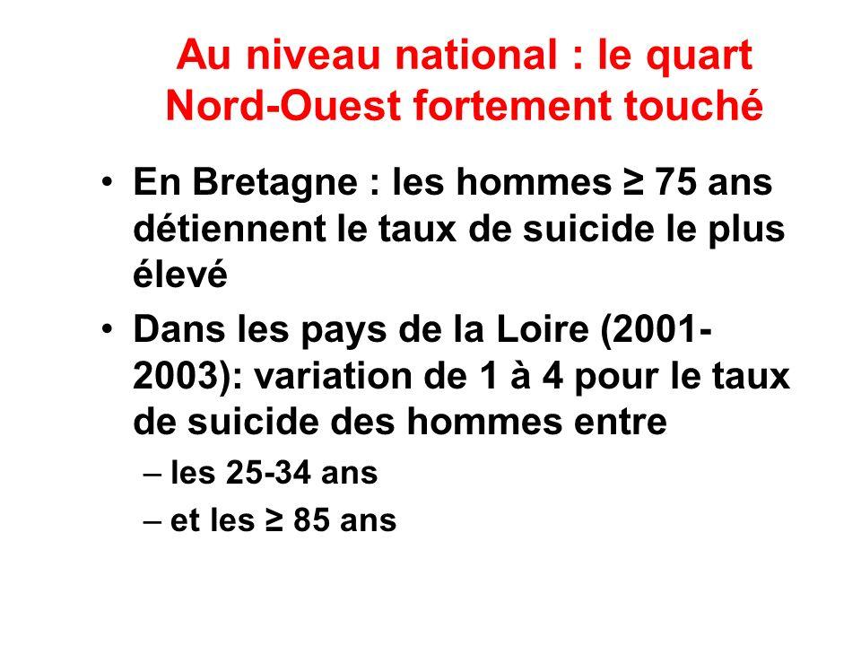 Au niveau national : le quart Nord-Ouest fortement touché En Bretagne : les hommes 75 ans détiennent le taux de suicide le plus élevé Dans les pays de