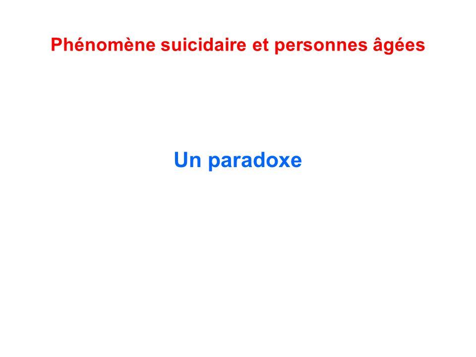 Phénomène suicidaire et personnes âgées Un paradoxe