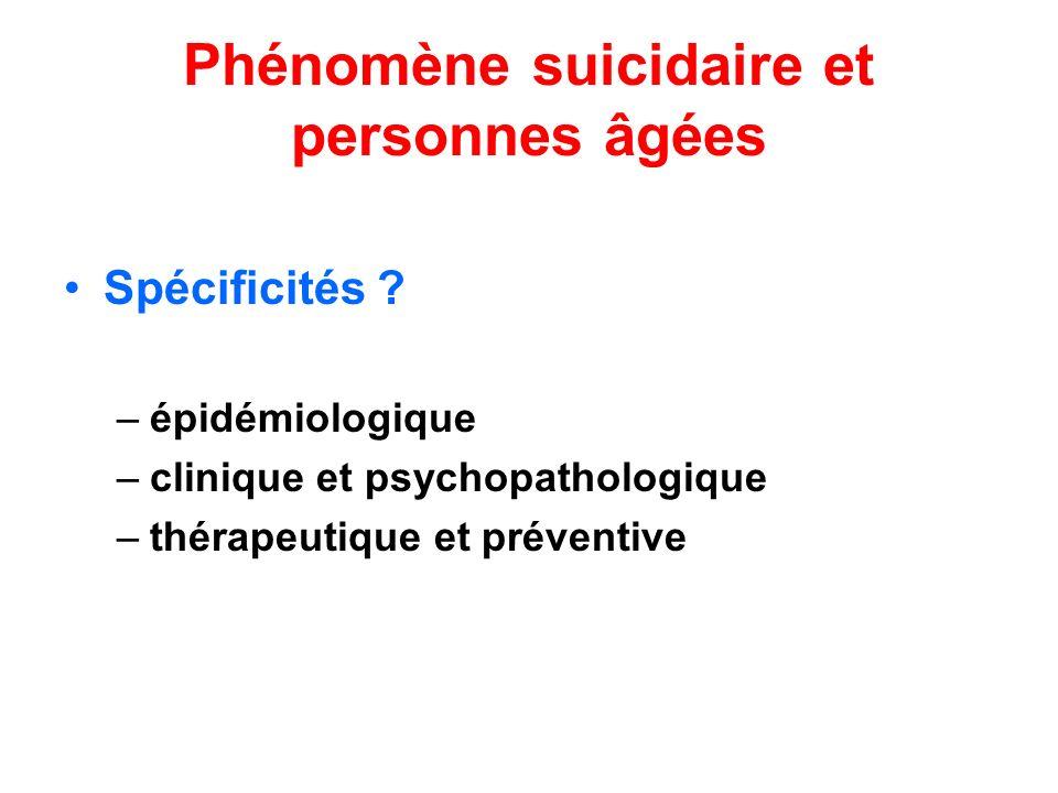 Phénomène suicidaire et personnes âgées Spécificités ? –épidémiologique –clinique et psychopathologique –thérapeutique et préventive