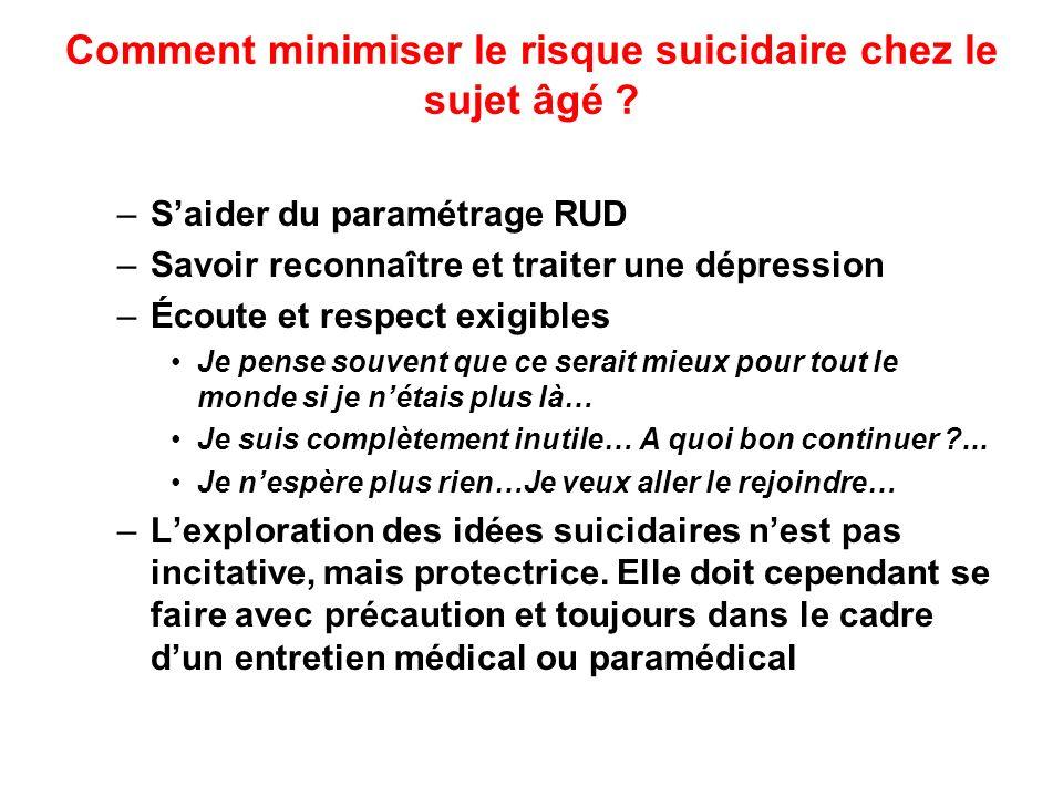 Comment minimiser le risque suicidaire chez le sujet âgé ? –Saider du paramétrage RUD –Savoir reconnaître et traiter une dépression –Écoute et respect