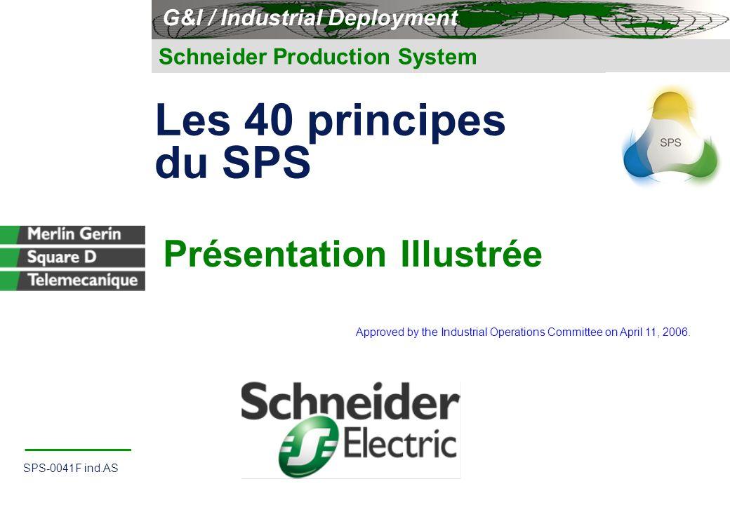 1 Illustration principes directeurs du SPS SPS-0041F ind.AS 1 Schneider Production System Présentation Illustrée G&I / Industrial Deployment Les 40 pr